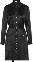 Kenzo Belted Washed-silk Mini Dress - Black