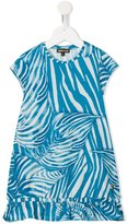 Roberto Cavalli leaf print dress - kids - Cotton/Spandex/Elastane - 6 yrs
