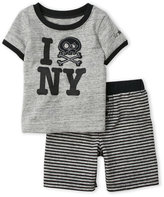 Amy Coe Newborn/Infant Boys) Two-Piece NY Tee & Stripe Shorts Set