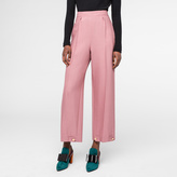 Paul Smith Women's Pink Wool-Silk Piqué Trousers With Button-Cuffs