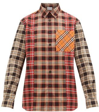 Burberry Contrast-panelled Nova-check Cotton-poplin Shirt - Mens - Beige Multi