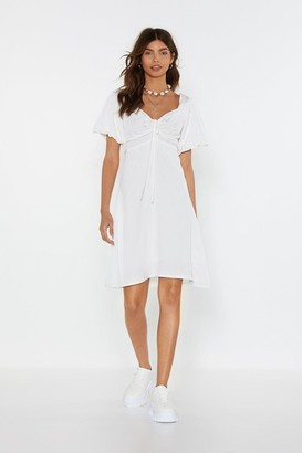 Nasty Gal Womens Amp It Up Lace-Up Puff Dress - White