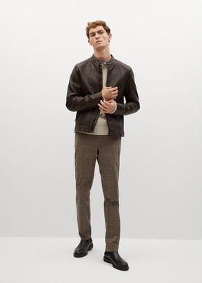 MANGO MAN - Faux-leather biker jacket chocolate - S - Men