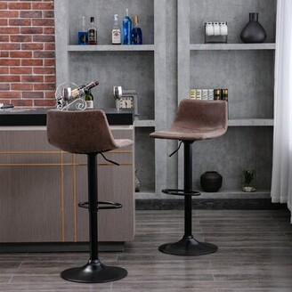 Williston Forge Rolland Swivel Adjustable Height Bar Stool Color: Brown