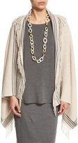 Eileen Fisher Trattino Wool-Blend Wrap, Charcoal, Plus Size