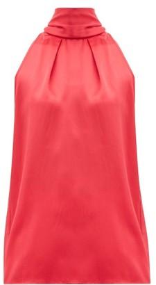 Saloni Michelle Halterneck Hammered Silk-satin Top - Red