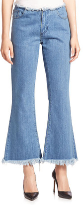 Marques Almeida Frayed Stonewash Cropped Flare Jean