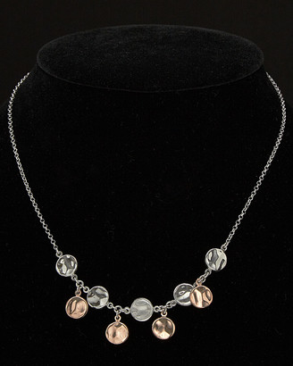 Italian Silver Hammered Disc Adjustable Necklace