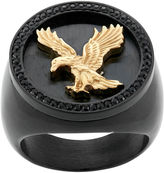 FINE JEWELRY Mens Crystal Stainless Steel & Black IP Eagle Ring