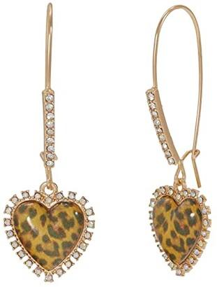 Betsey Johnson Heart Drop Earrings (Leopard) Earring