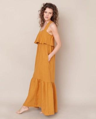 Beaumont Organic Arya May Linen Dress In Sun - Sun / Medium