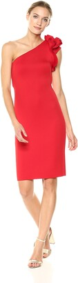 Betsy & Adam Womens Short Red Super Scuba One Shoulder Rose Dress Color Red Size 2