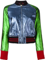 Gucci colour block bomber jacket - women - Silk/Cotton/Lamb Skin/Polyamide - 42