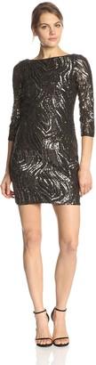 Aidan Mattox Aidan Women's 3/4 Sleeve Beaded Dress with V Back