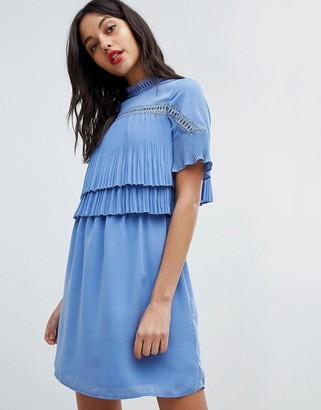 Morgan 2 In 1 Lace Insert Pleated Top Skater Dress