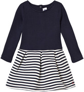 Petit Bateau Navy Ribbed Jersey Dress with Stripe Skirt