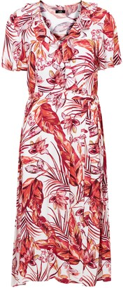 Wallis Blush Floral Print Ruffle Midi Dress