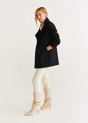 MANGO Buttoned wool coat light/pastel grey - XXS - Women