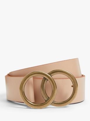 John Lewis & Partners Olivia O Ring Leather Belt, Blush