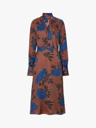 Winser London Satin Bow Floral Midi Dress, Brown