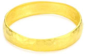 Kenneth Jay Lane Satin -Plated Hammered Bangle Bracelet