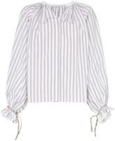 Etro Striped ruffle sleeve cotton blouse