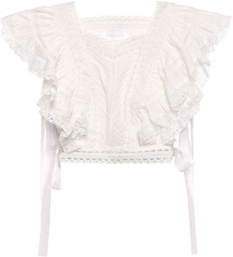 Zimmermann Heathers Cropped Crochet-trimmed Ruffled Cotton-voile Top