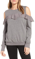 Halogen Ruffle Cold Shoulder Sweatshirt