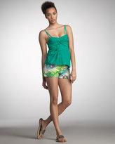 Nanette Lepore Beaded Chick Peacock-Print Shorts