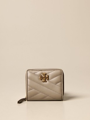 Tory Burch Kira Wallet In Quilted Leather With Metallic Emblem