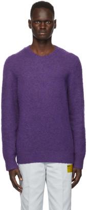 Helmut Lang Purple Brushed Alpaca Crewneck Sweater