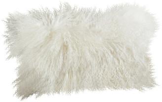 """Saro Lifestyle Mongolian Lamb Fur Poly Filled Throw Pillow, Ivory, 12""""x20"""""""