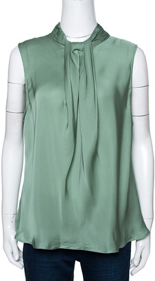 Giorgio Armani Pale Green Silk Draped Sleeveless Blouse XL