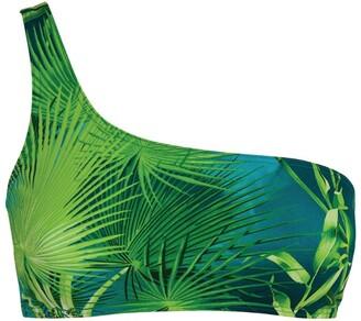Versace One-Shoulder Leaf Print Bikini Top