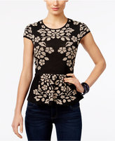 INC International Concepts Petite Jacquard Peplum Sweater, Only at Macy's