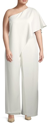 Adrianna Papell Plus One-Shoulder Jumpsuit
