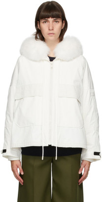 Yves Salomon Army White Down and Fur Bachette Jacket