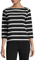 Liz Claiborne 3/4 Sleeve Round Neck Stripe T-Shirt-Womens Talls