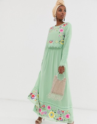 Asos Design DESIGN double layer embroidered maxi dress-Green