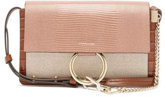 Chloé Faye Small Lizard-embossed Leather Shoulder Bag - Womens - Pink Multi