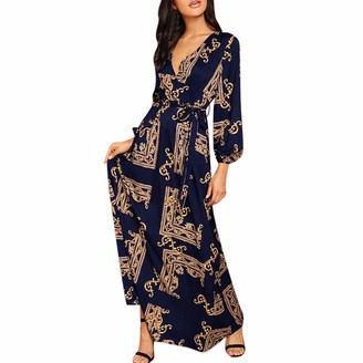 Taottao Top Blouse TAOtTAO Fashion Women V-Neck Long Sleeve Maxi Long Dress Print Lantern Sleeve Wrap Dress Navy