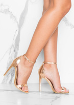 Missy Empire Lily Rose Gold Metallic Barely There Heels