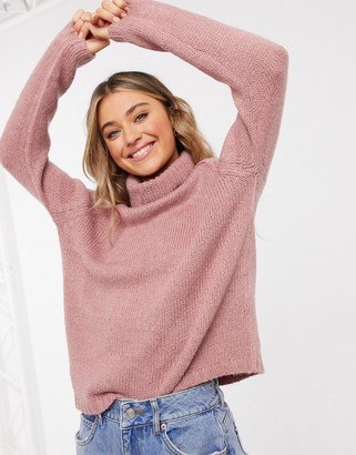 JDY roll neck jumper with chunky knit pink