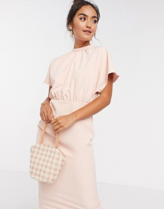 ASOS DESIGN high neck midi dress with fluted sleeve in blush pink
