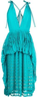 Marco De Vincenzo Plunge-Neck Laser Cut Midi Dress