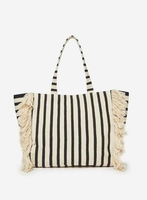 Dorothy Perkins Womens Black Stripe 'Fringe' Beach Shopper Bag, Black