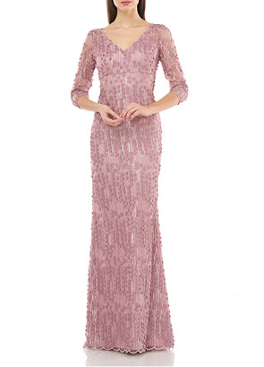 Carmen Marc Valvo V-Neck 3/4-Sleeve Small 3D Petal Embellished Gown