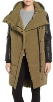 Women's Lamarque Oversize Down Coat With Leather Trim