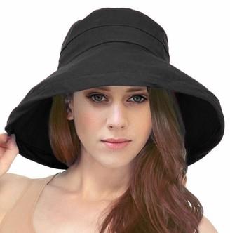 Simplicity Women's Cotton Summer Beach Sun Hat with Wide Fold-Up Brim - black - One Size