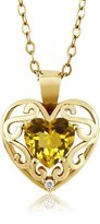 Gem Stone King 0.73 Ct Heart Shape Yellow Citrine White Sapphire 18K Yellow Gold Pendant